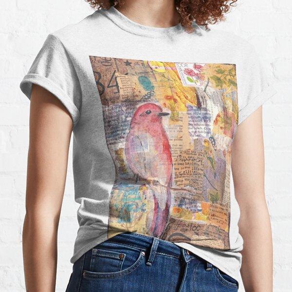 Mixed media collage bird Classic T-Shirt