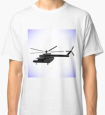 Silhouette of Helicopter Isolated on White Background Classic T-Shirt