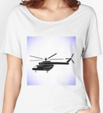 Silhouette of Helicopter Isolated on White Background Women's Relaxed Fit T-Shirt