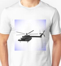 Silhouette of Helicopter Isolated on White Background T-Shirt