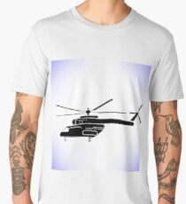 Silhouette of Helicopter Isolated on White Background Men's Premium T-Shirt