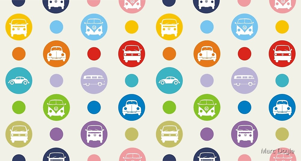 Polka Dot Campers & Beetles by Marc Doyle