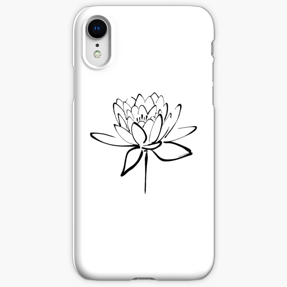 Lotus Flower Calligraphy (Black) iPhone Cases & Covers