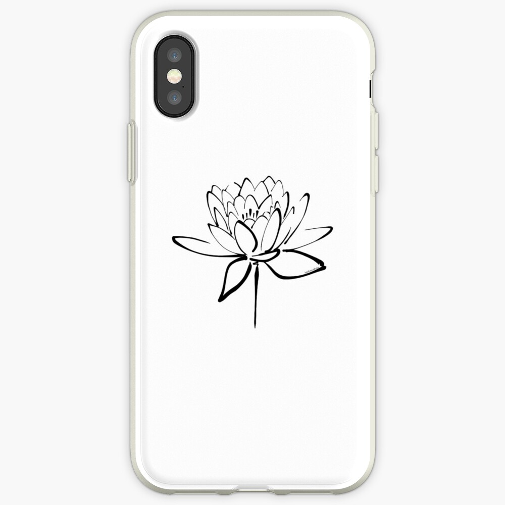 Lotus Flower Calligraphy (Black) iPhone Case & Cover