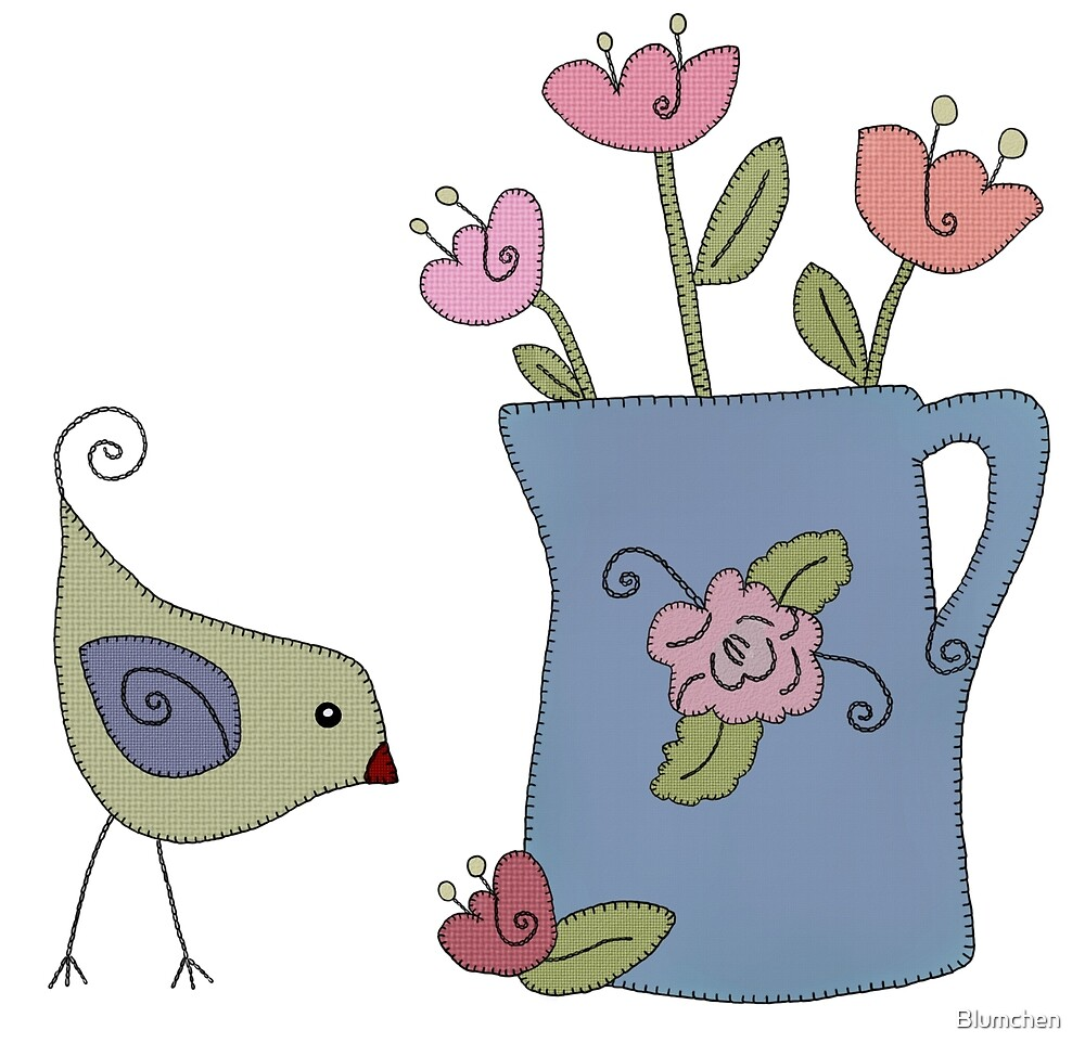 Bird with flower vase by Blumchen