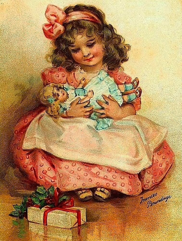 Cute little girl with her doll, vintage greeting card by AmorOmniaVincit