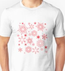 Rosy red snowflakes T-Shirt