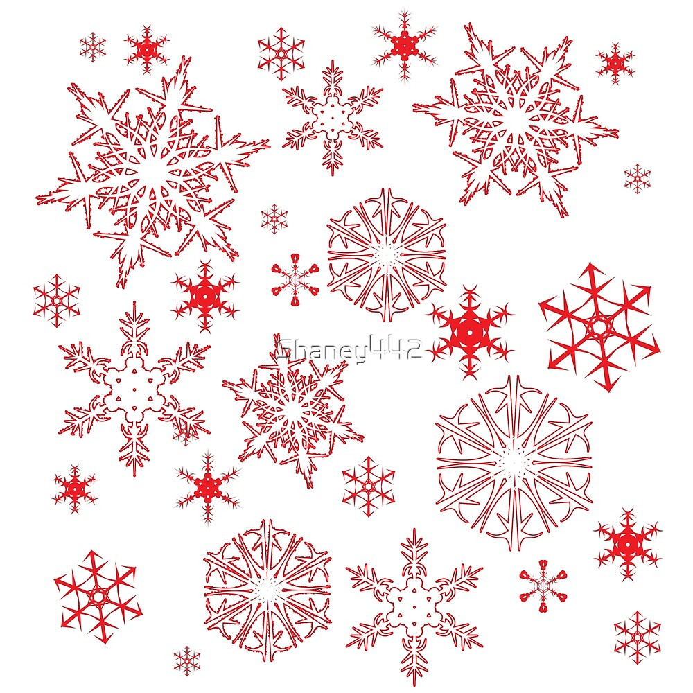 Rosy red snowflakes by Shaney Alice Gober