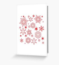 Rosy red snowflakes Greeting Card