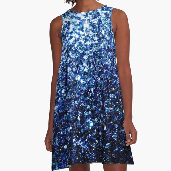 Beautiful Dark Blue glitter sparkles A-Line Dress