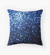 Beautiful Dark Blue glitter sparkles Throw Pillow