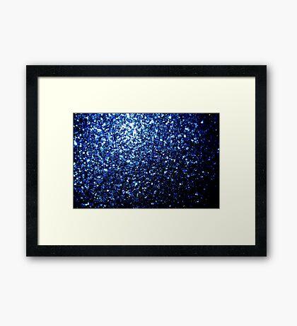 Beautiful Dark Blue glitter sparkles Framed Print