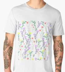 Summer delicate wild flowers with pastel color, floral seamless pattern.  Men's Premium T-Shirt