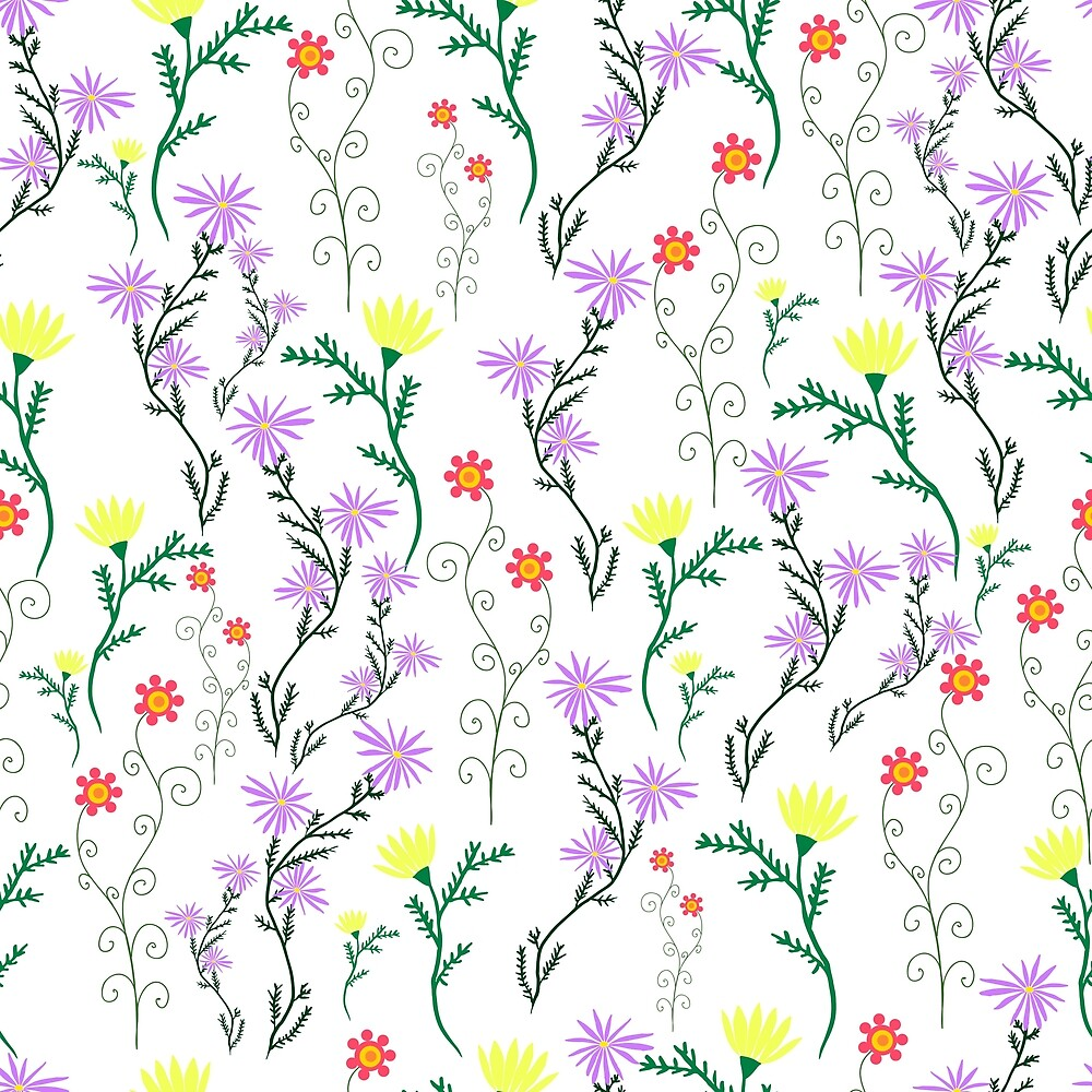 Summer delicate wild flowers with pastel color, floral seamless pattern.  by Kioto
