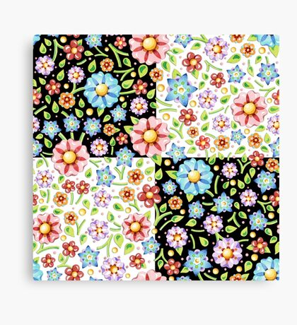 Millefiori Floral Checks Canvas Print