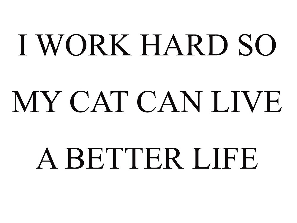 I WORK HARD SO MY CAT CAN LIVE A BETTER LIFE by BackToReality