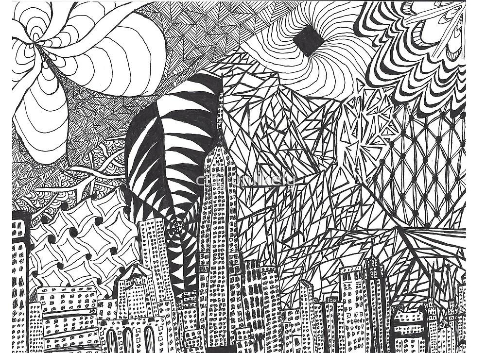 city skyline zentangle art drawing modern grunge pattern by Kathryn King