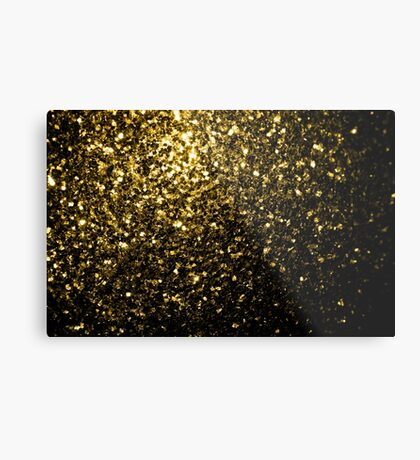 Beautiful Yellow Gold glitter sparkles Metal Print