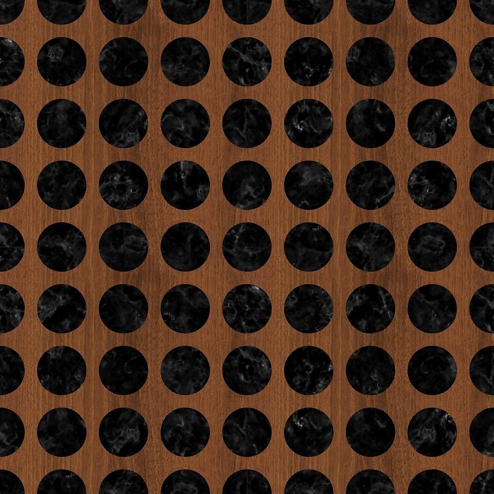 CIRCLES1 BLACK MARBLE & BROWN WOOD (R) by johnhunternance