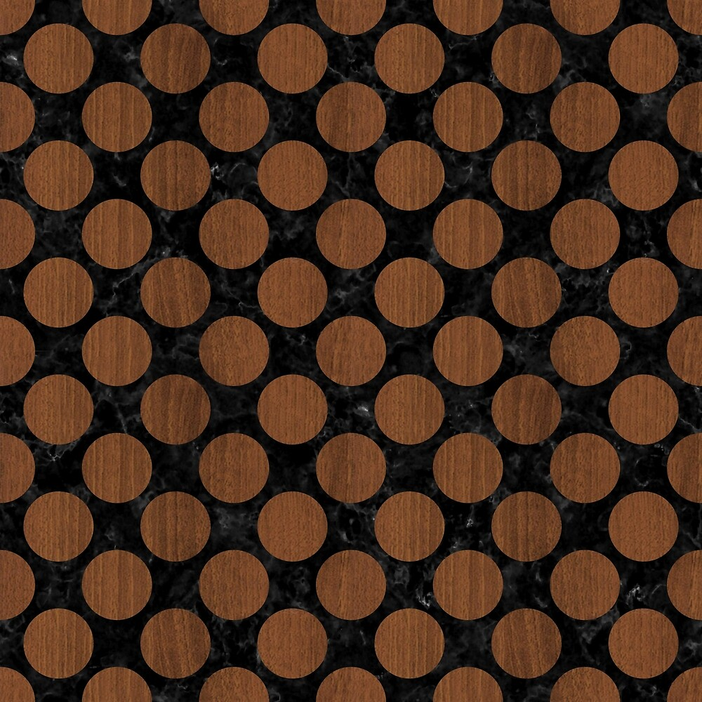CIRCLES2 BLACK MARBLE & BROWN WOOD by johnhunternance