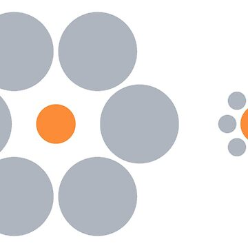 Optical illusion: The two orange circles are same size. by JoAnnFineArt