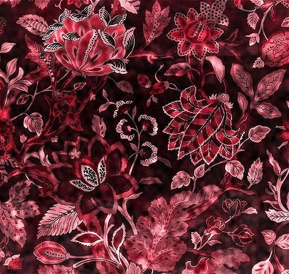 Red Vintage Floral Shimmer by HavenDesign