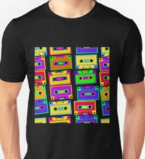 Bright, colorful, retro cassette seamless pattern, on a black background.  T-Shirt