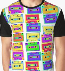 Bright, colorful, retro cassette seamless pattern, on a black background.  Graphic T-Shirt