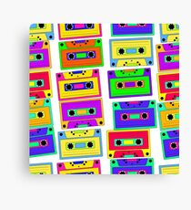 Bright, colorful, retro cassette seamless pattern, on a black background.  Canvas Print