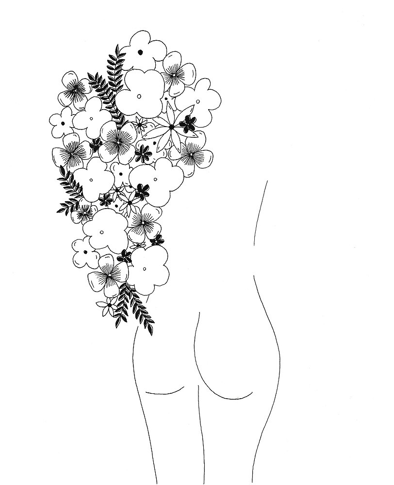 Woman & flowers by Clémence Delorme