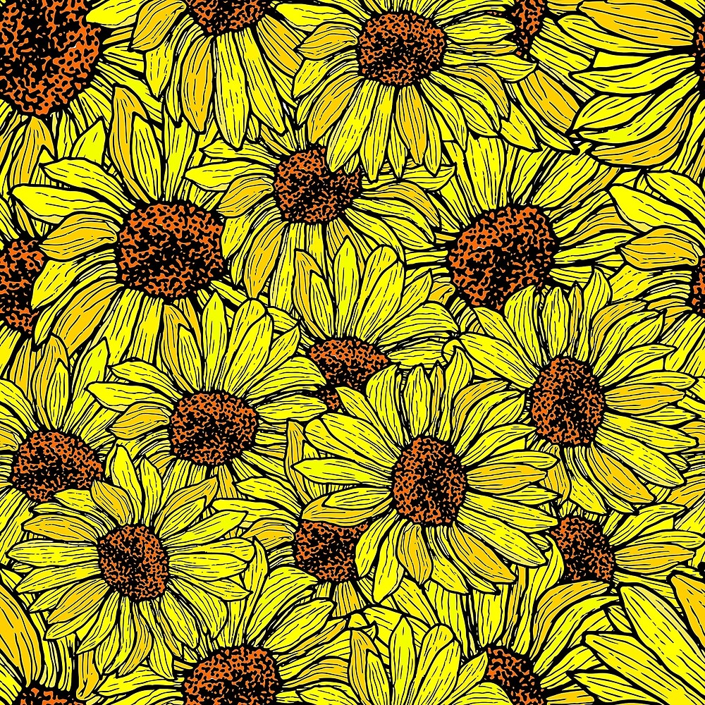 Sunflower seamless, shattered pattern by Kioto