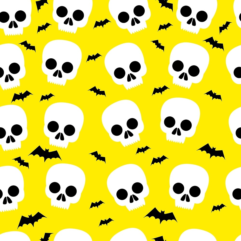 Funny skull, bat, halloween, seamless pattern, yellow background by Kioto