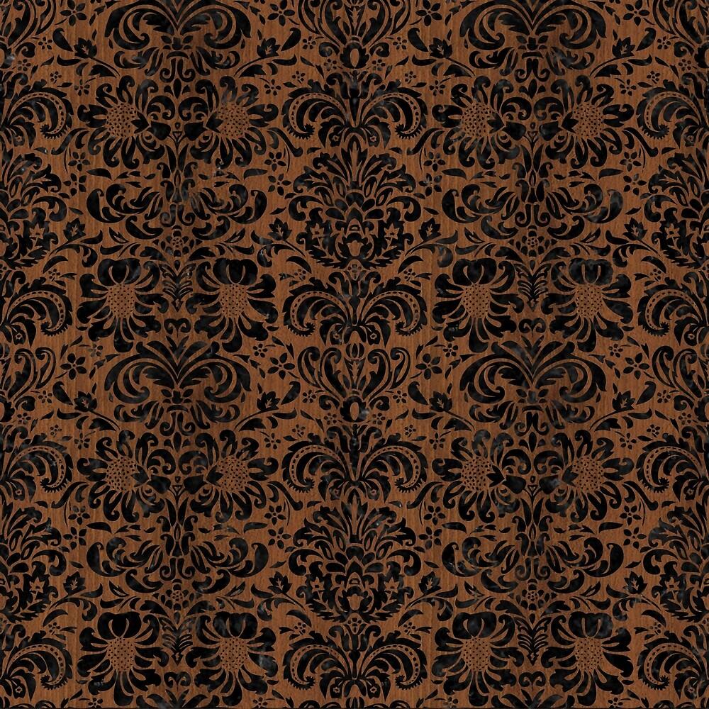 DAMASK2 BLACK MARBLE & BROWN WOOD (R) by johnhunternance