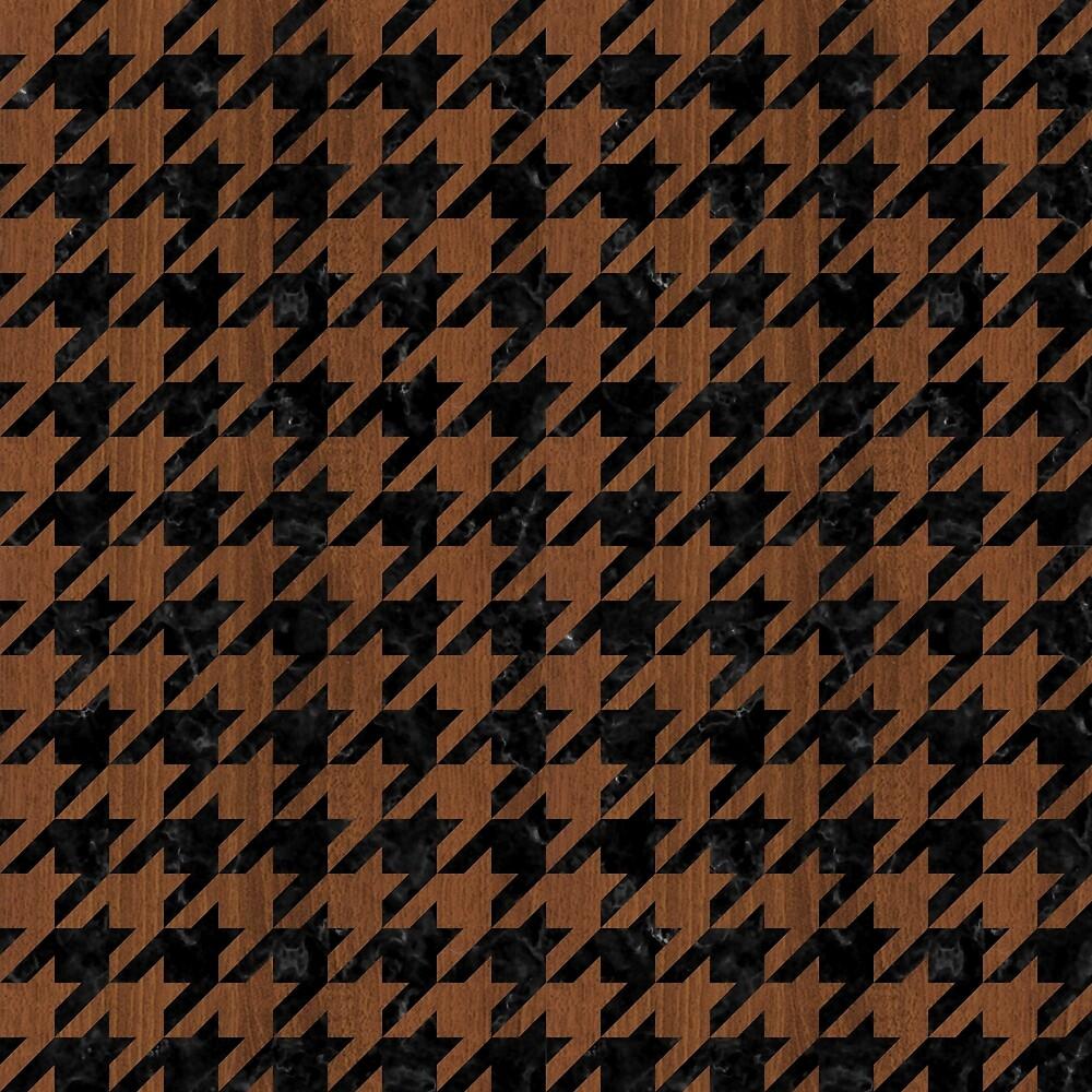 HOUNDSTOOTH1 BLACK MARBLE & BROWN WOOD by johnhunternance