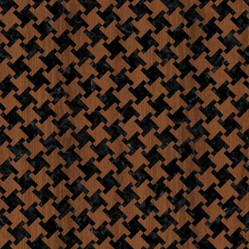 HOUNDSTOOTH2 BLACK MARBLE & BROWN WOOD by johnhunternance