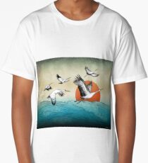 Flying Japanese Asian Cranes over Water Waves Long T-Shirt