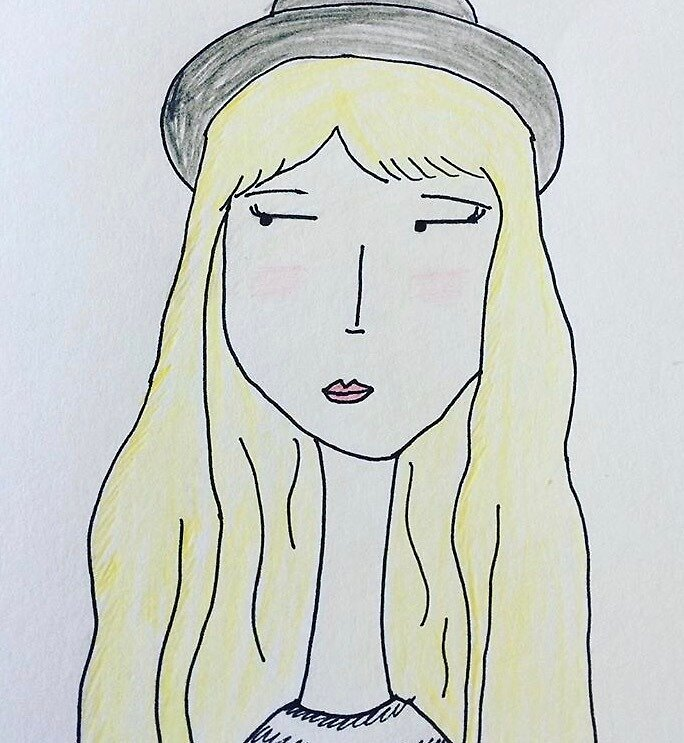 Quirky girl with hat by janicesart