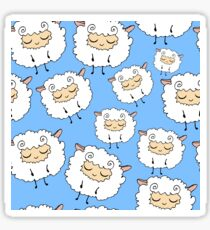 Sweet, furry, funny, dream sheep. Seamless, cartoon, vector pattern. Graphics for web design, textiles, fabrics. Sticker