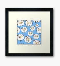 Sweet, furry, funny, dream sheep. Seamless, cartoon, vector pattern. Graphics for web design, textiles, fabrics. Framed Print
