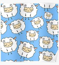 Sweet, furry, funny, dream sheep. Seamless, cartoon, vector pattern. Graphics for web design, textiles, fabrics. Poster