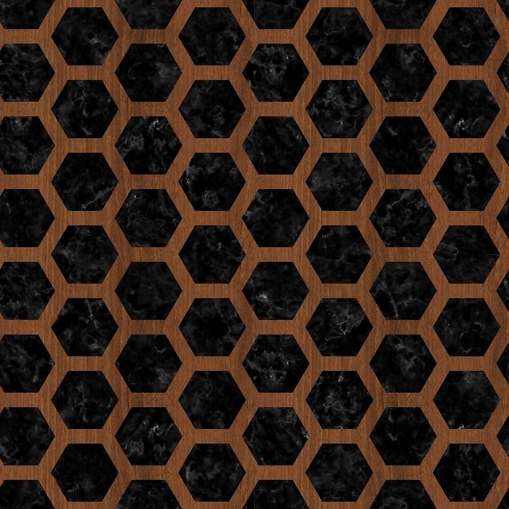 HEXAGON2 BLACK MARBLE & BROWN WOOD by johnhunternance
