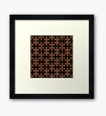 PUZZLE1 BLACK MARBLE & BROWN WOOD Framed Print