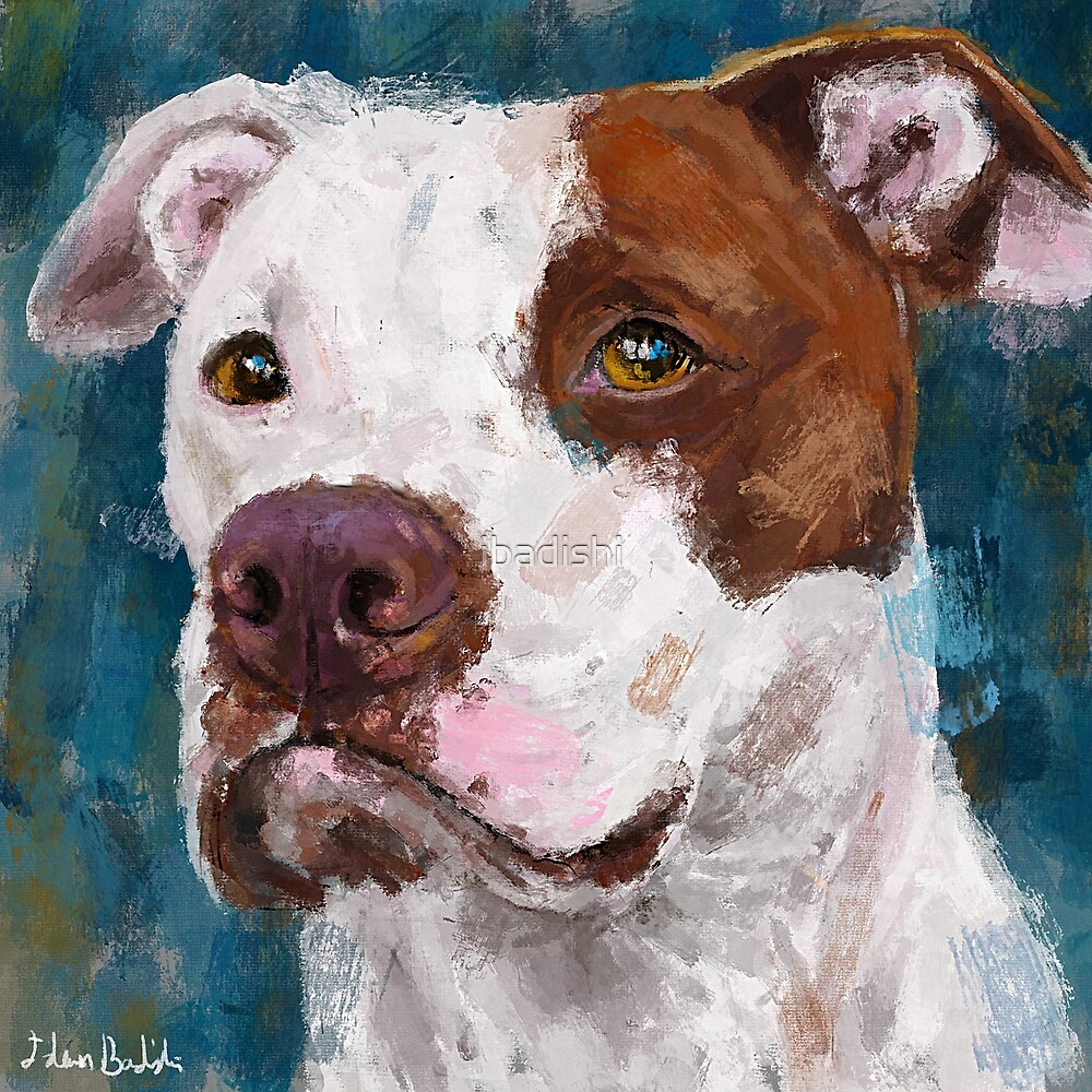 A Painting of a White and Brown Pit Bull by ibadishi