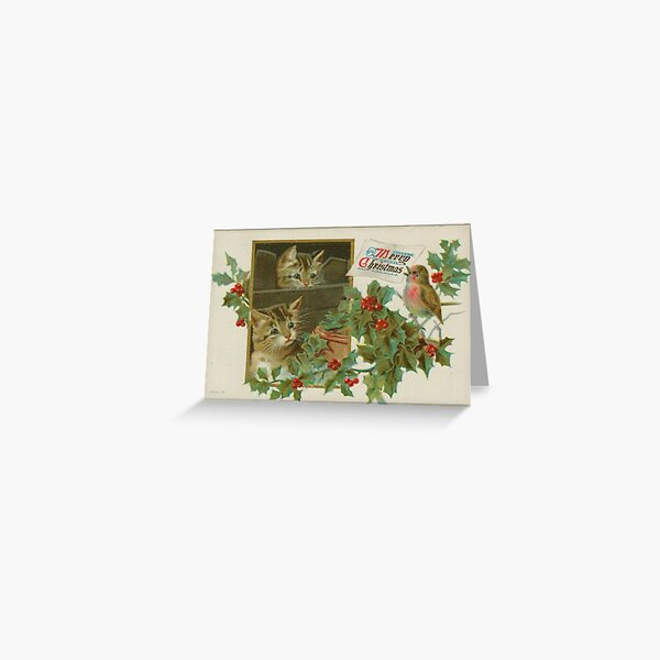 Cutest Victorian Christmas Card & Sticker with Kittens Greeting Card