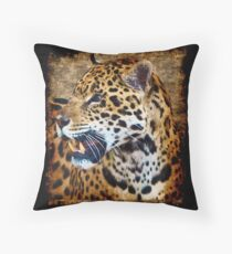 Jaguar Wild Cat Animal-Lover Artwork Throw Pillow
