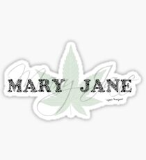 Mary Jane - Weed Leaf Typography - Cool Stoner Design Sticker