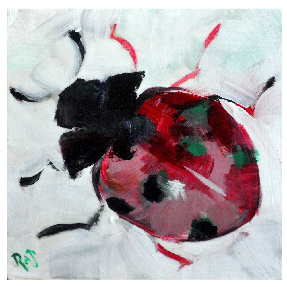 Lovely Ladybug painted in Acrylic by RAJillustration