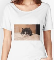 Black and white Kitten  Women's Relaxed Fit T-Shirt