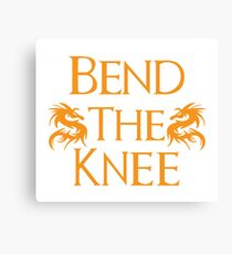Bend The Knee Two Dragon Orange design Game of Thrones fan Canvas Print