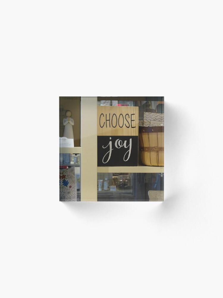 Alternate view of Choose Joy mask, Choose joy pin, Postive message  Acrylic Block